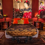 Asian themed bedroom in loft space in downtown Los Angeles