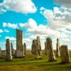 Historic Callanish Stones in Scotland on a sunny day