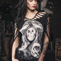 Junker Designs T-shirt with skull and webs on brunette fashion model cut by Peepshow Clothing