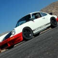 White Porsche 911 owned by Magnus Walker on the Angeles Crest highway in Los Angeles,CA.