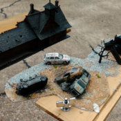 Miniature models used in a music video shoot for forced perspective effects.